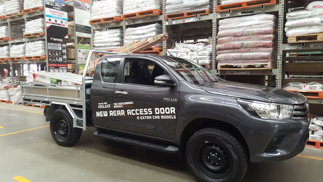 2016 Toyota Hilux picking up supplies