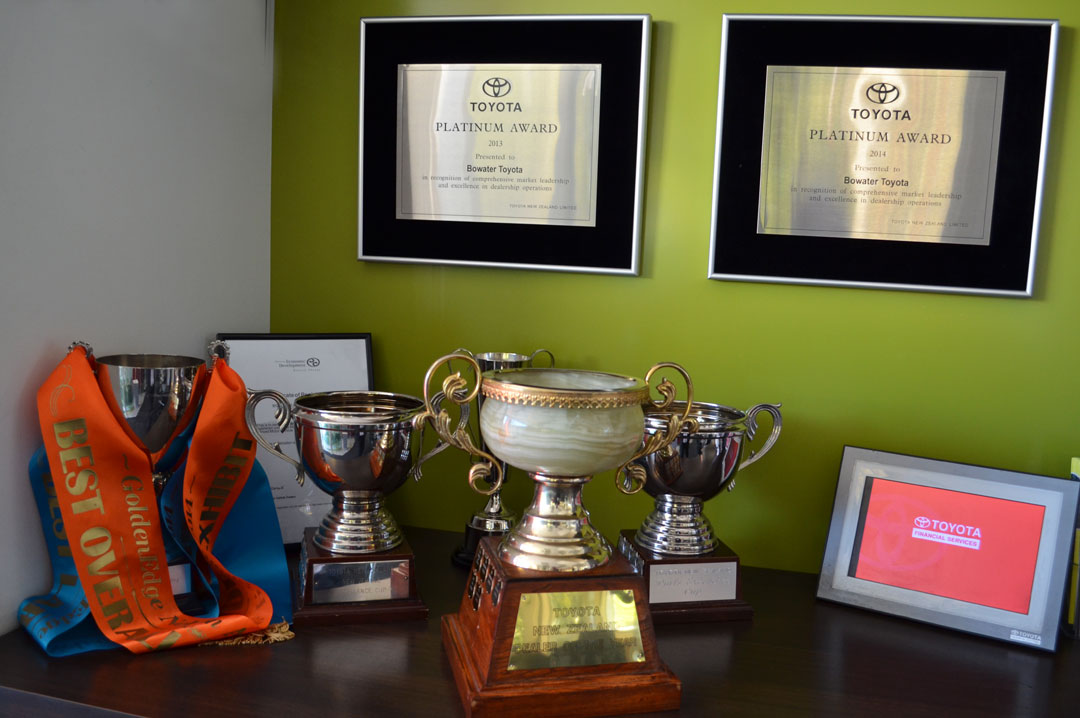 The trophy cabinet at Bowater Toyota